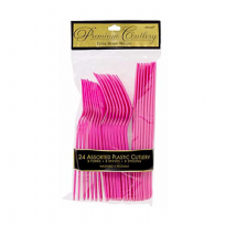 Bright Pink Plastic Cutlery Set (24)